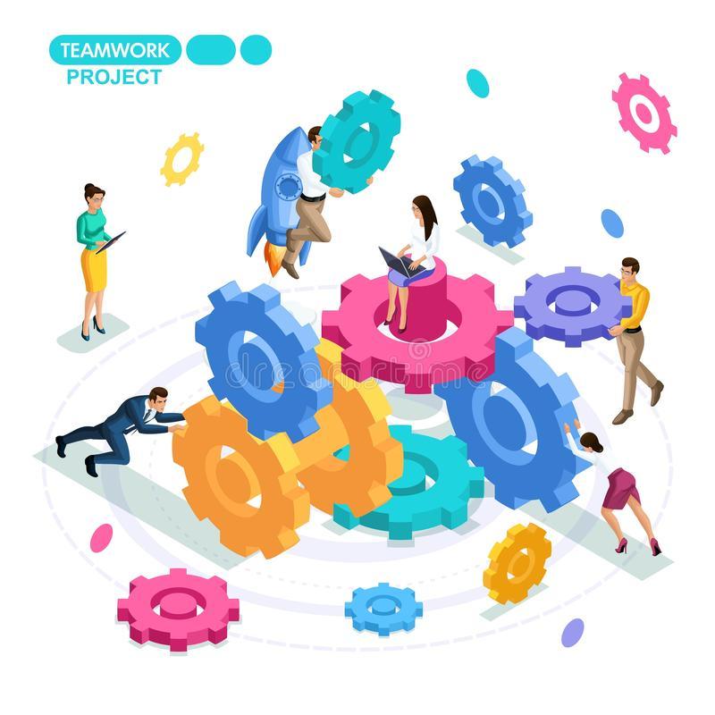 Isometric business concept, project teamwork, start-up, gears, business mechanism. Young entrepreneurs are working stock illustration
