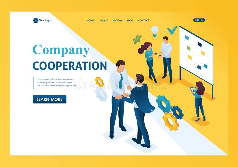 Isometric business Cooperation between companies and employees. Template landing page royalty free illustration