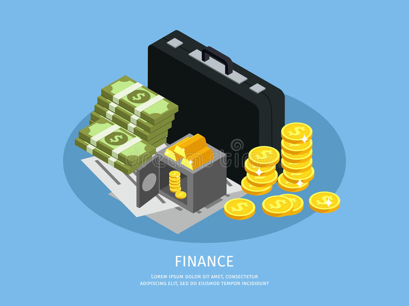 Isometric Business Finance Concept royalty free illustration