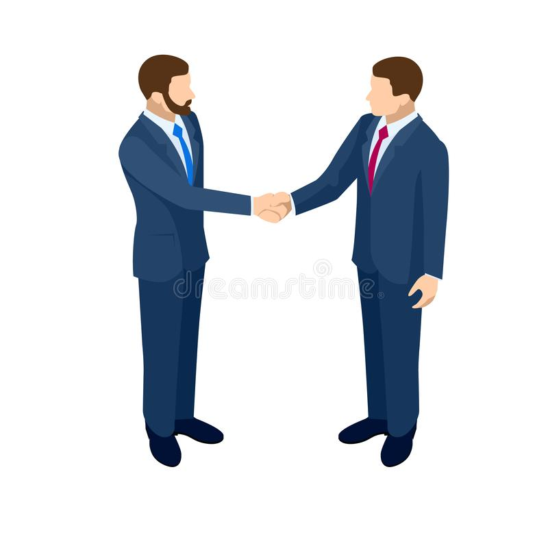 Isometric Business handshakecincept. two business partners in black elegant suit successful handshake and talking vector illustration