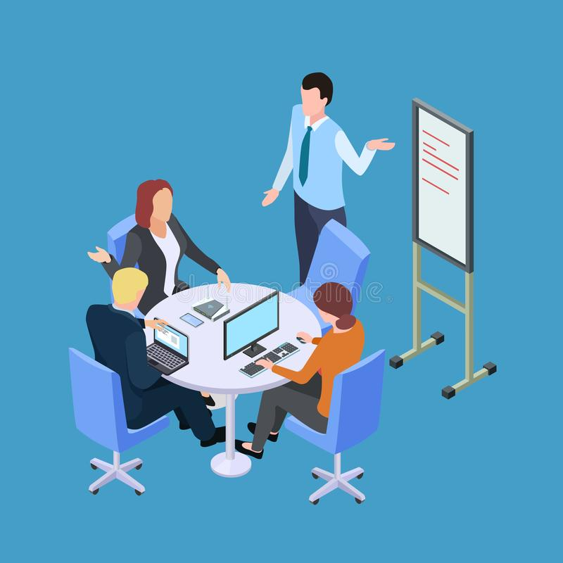 Isometric business meeting or conference with info desk vector illustration royalty free illustration