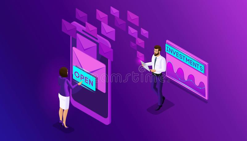 Isometric business men and business women browse e-mails a smartphone. Analytics and schedule data mailing,. Receiving messages. Inbox email royalty free illustration