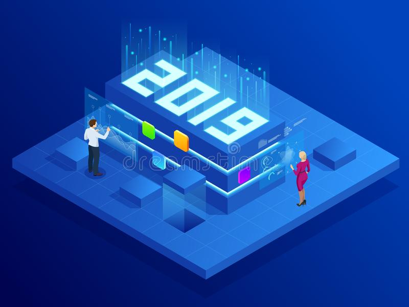 Isometric Business New Year 2019 concept, Digital technologies. Business solution,planning ideas. New innovative ideas. stock illustration