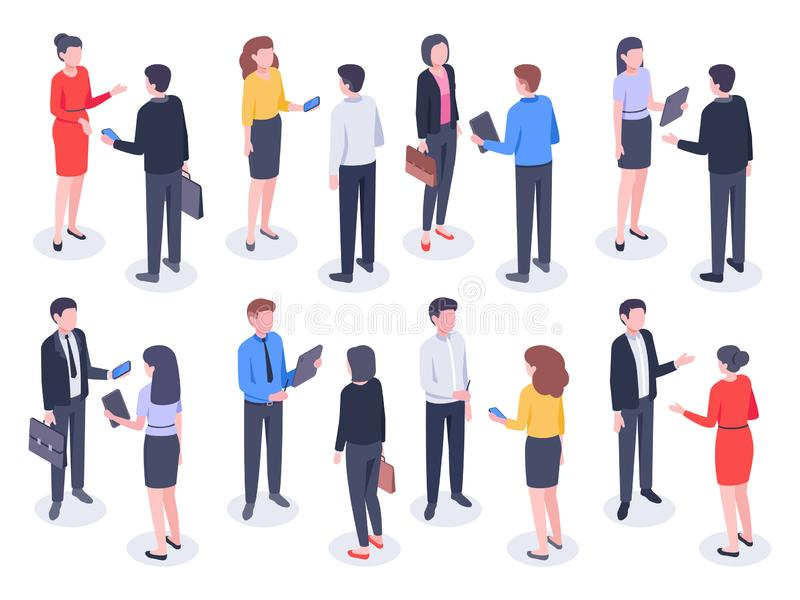Isometric business people. Businessman team, businesswoman working collective and crowd of office worker persons vector stock illustration