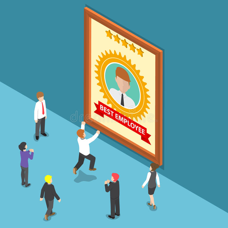 Isometric Business People Celebrate Best Employee Award vector illustration
