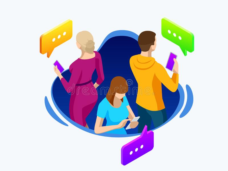 Isometric business people group using smart phone, tablet for working or playing social network. Online sharing. Connection. Vector isolated illustration stock illustration