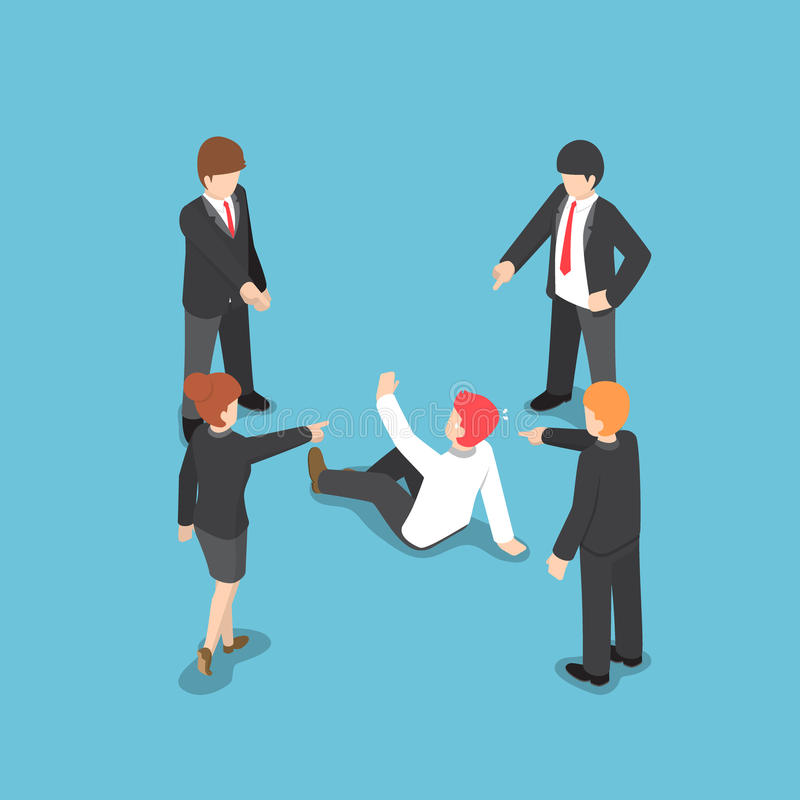 Isometric business people pointing the finger to blaming businessman. royalty free illustration