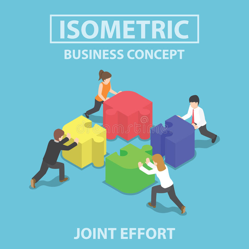 Isometric business people pushing and assembling four jigsaw puzzles royalty free illustration