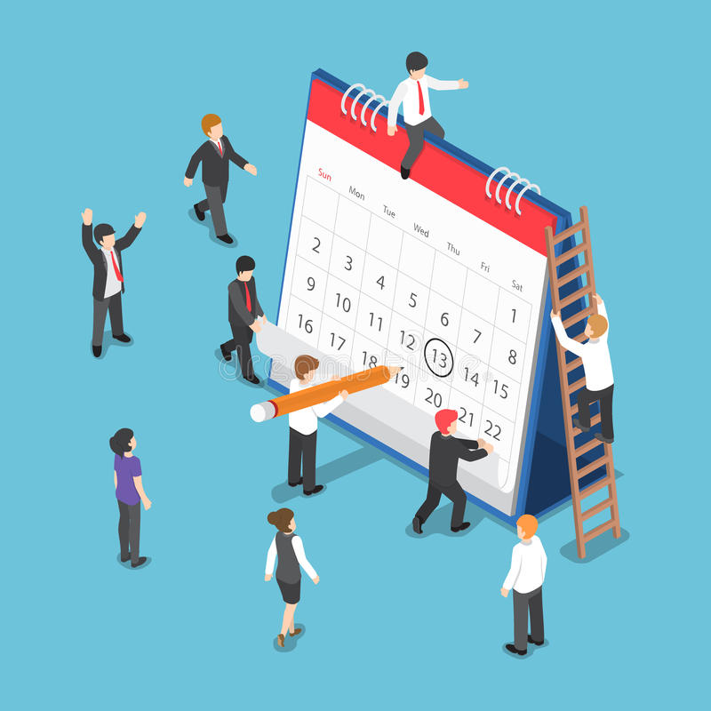 Isometric Business People Scheduling Operation on Desk Calendar. Flat 3d Isometric Business People Planning and Scheduling Operation by Drawing Circle Mark on vector illustration