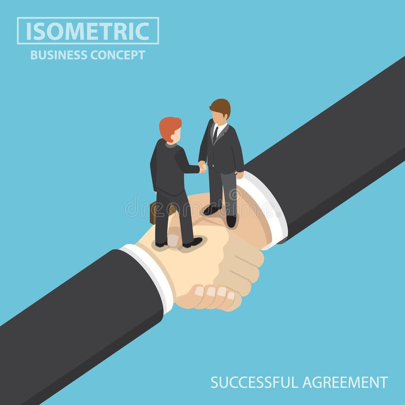 Isometric business people shaking hands on big handshake. Flat 3d isometric business people shaking hands on big handshake. Partnership and successful business stock illustration