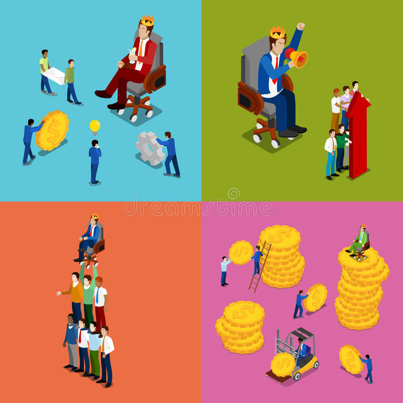 Isometric Business People. Team Work, Money Investment and Financial Success Concept vector illustration