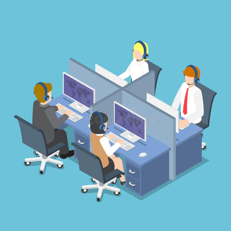 Isometric Business People Working with Headset in a Call Center royalty free illustration