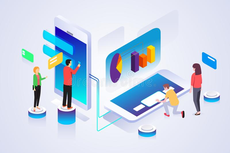 Isometric of Business People Working on Technology Devices Illustration. A vector illustration of Isometric of Business People Working on Technology Devices royalty free illustration