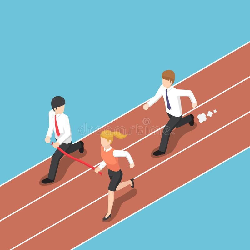 Isometric business rival hold finish line away from businessman. vector illustration