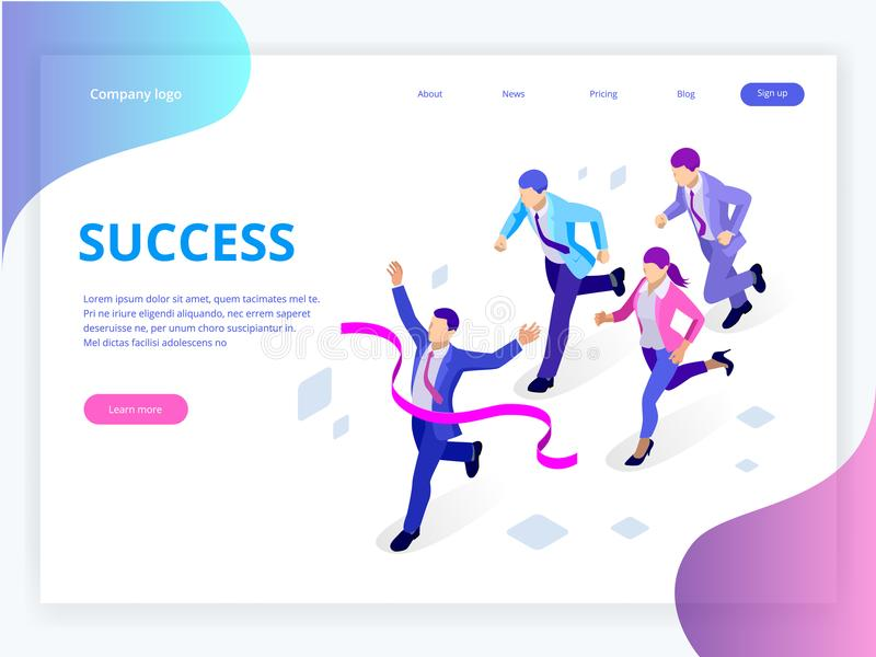 Isometric Business Success Concept. Entrepreneur business man leader. Businessman and his business team crossing finish. Line and tearing red ribbon finishing royalty free illustration