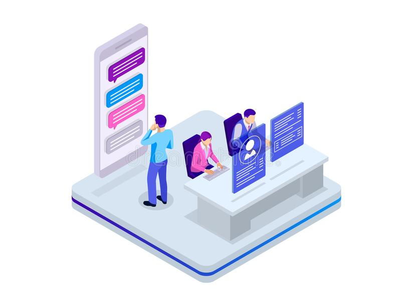 Isometric business teamwork concept. Business project team working together at meeting room at office. Vector royalty free illustration