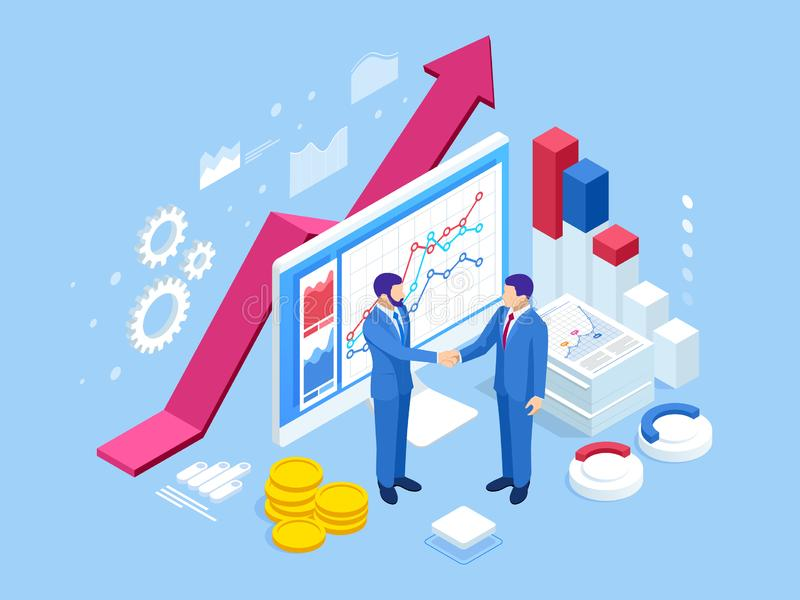 Isometric Successful business collaboration. Businessmen shaking hands. B2B. Data and key performance indicators for royalty free illustration