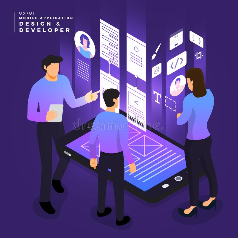 Isometric business UI/UX Team. Business concept teamwork of peoples working UI / UX Design and Development mobile application wireframe. Vector illustrations royalty free illustration
