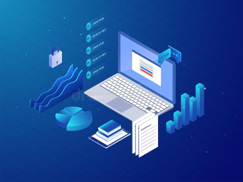 Isometric business workspace with laptop and office supplies on vector illustration