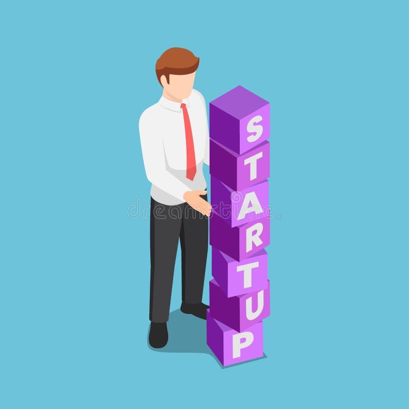 Isometric businessman arranging blocks with the word STARTUP. Flat 3d isometric businessman arranging blocks with the word STARTUP. Business startup concept stock illustration