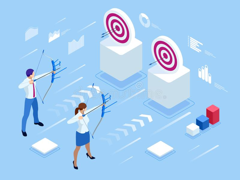 Isometric Businessman and Businesswoman shooting a bow and arrow. Success. Arrow hit the center of the target. Business vector illustration