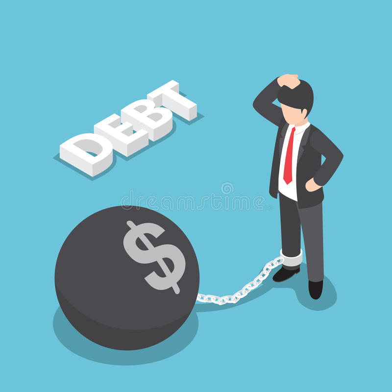 Isometric businessman chained with large metal ball. Bankruptcy, debt concept, VECTOR, EPS10 vector illustration