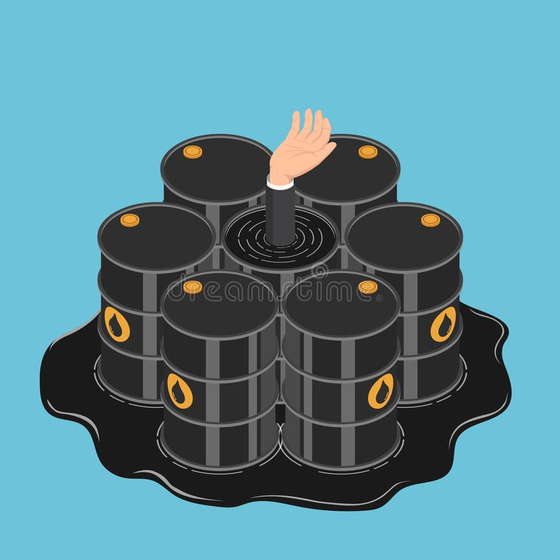 Isometric businessman hand get drowned in oil barrels. Flat 3d isometric businessman hand get drowned in oil barrels. Oil crisis and petroleum industry concept stock illustration