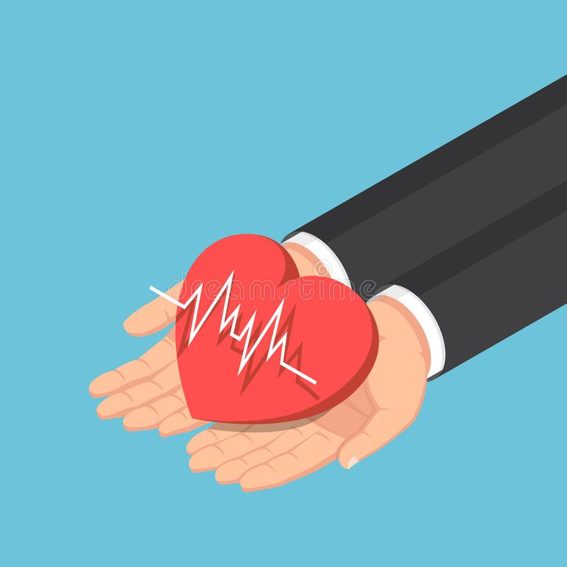 Isometric businessman hand holding red heart with electrocardiography line. Flat 3d isometric businessman hand holding red heart with electrocardiography ECG or vector illustration