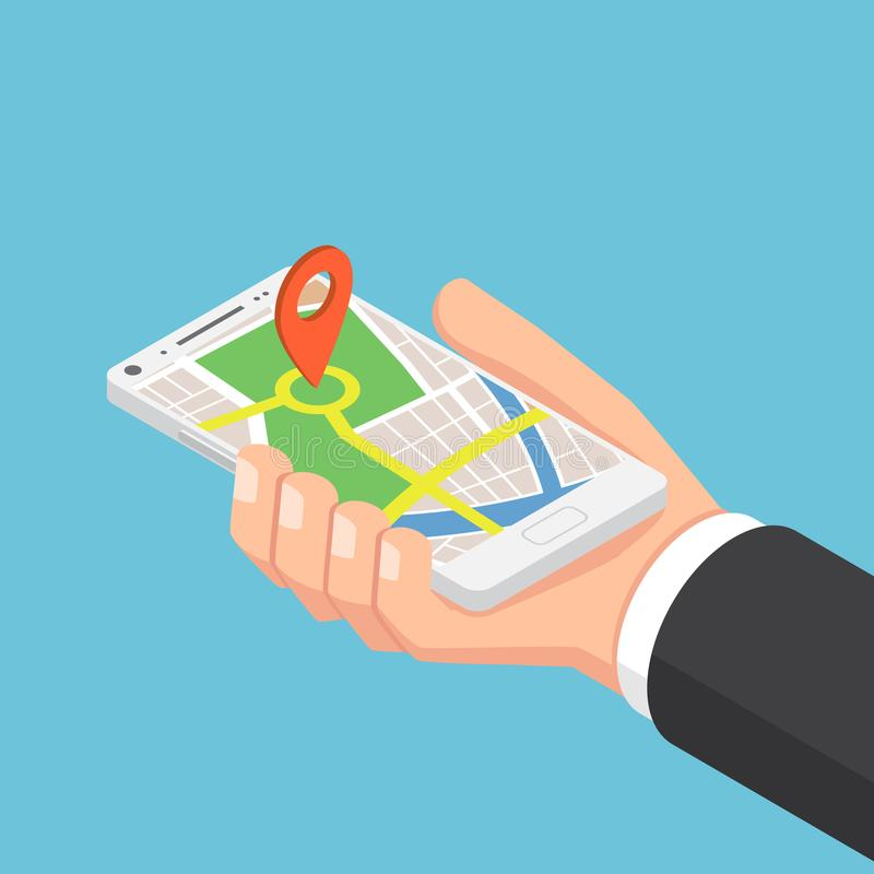 Isometric businessman hand holding smartphone with pinpoint on t vector illustration