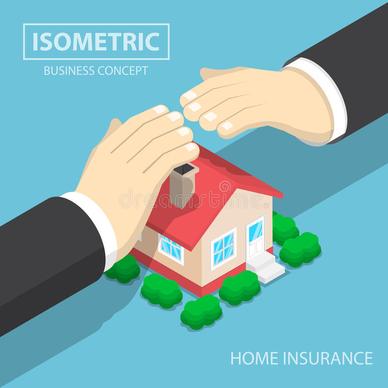 Isometric businessman hands protecting the house royalty free illustration