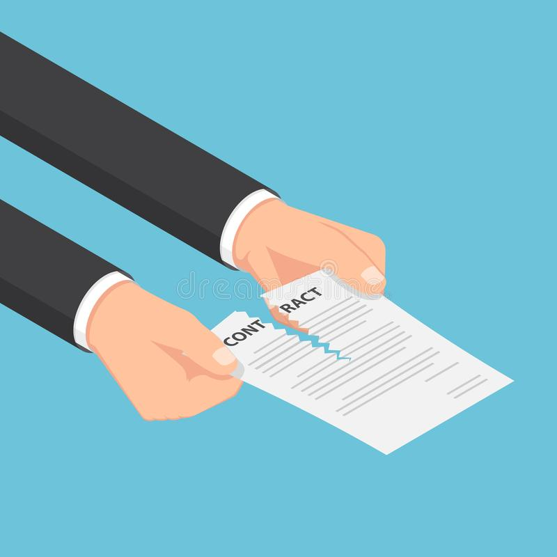 Free Isometric Businessman Hands Tearing Up A Contract Or Agreement D Stock Image - 107572851