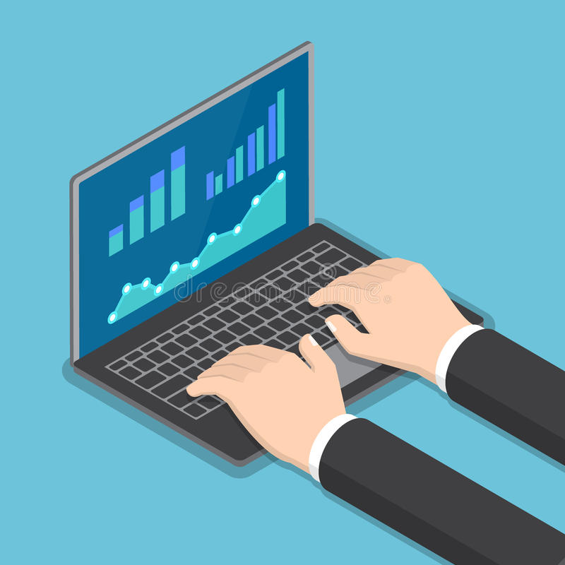 Isometric businessman hands using laptop with financial report. Flat 3d isometric businessman hands using laptop with financial report graph on monitor, online stock illustration
