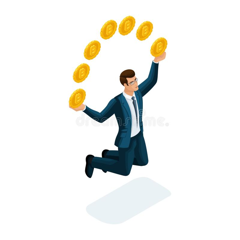 Isometric businessman is happy to throw up coins, jumping concept of a successful financial transaction with Bitcoin. Vector stock illustration