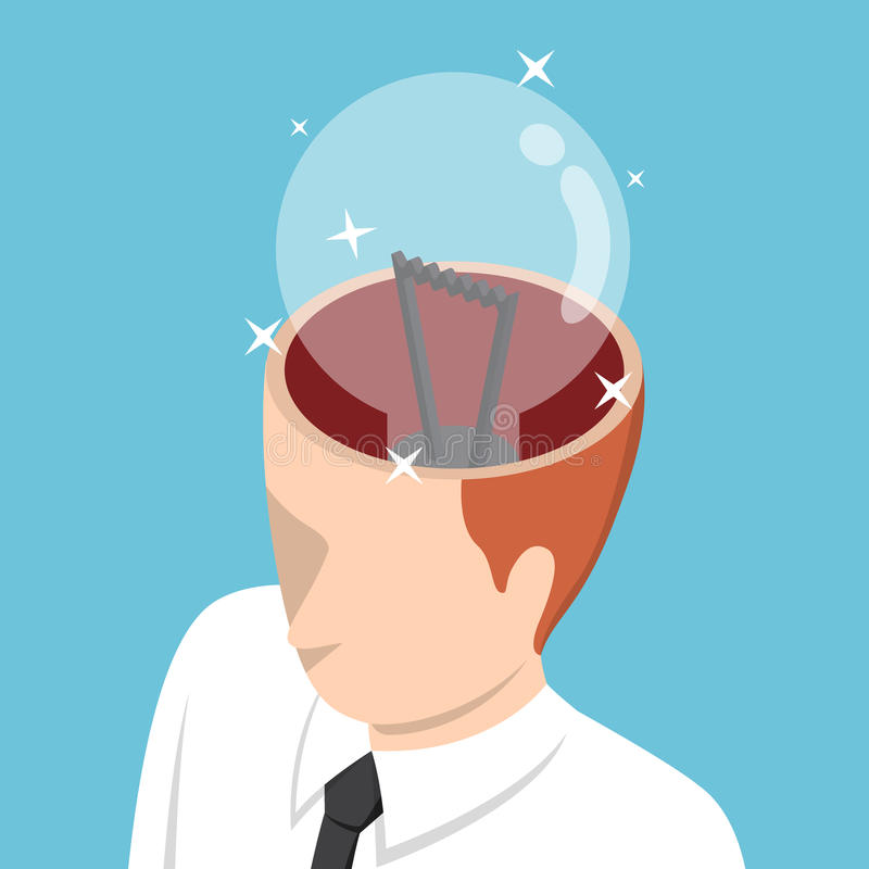 Isometric businessman with light bulb in his head stock illustration