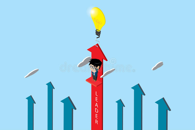 Isometric businessman with lightbulb and red arrow, leader and business concept. stock illustration