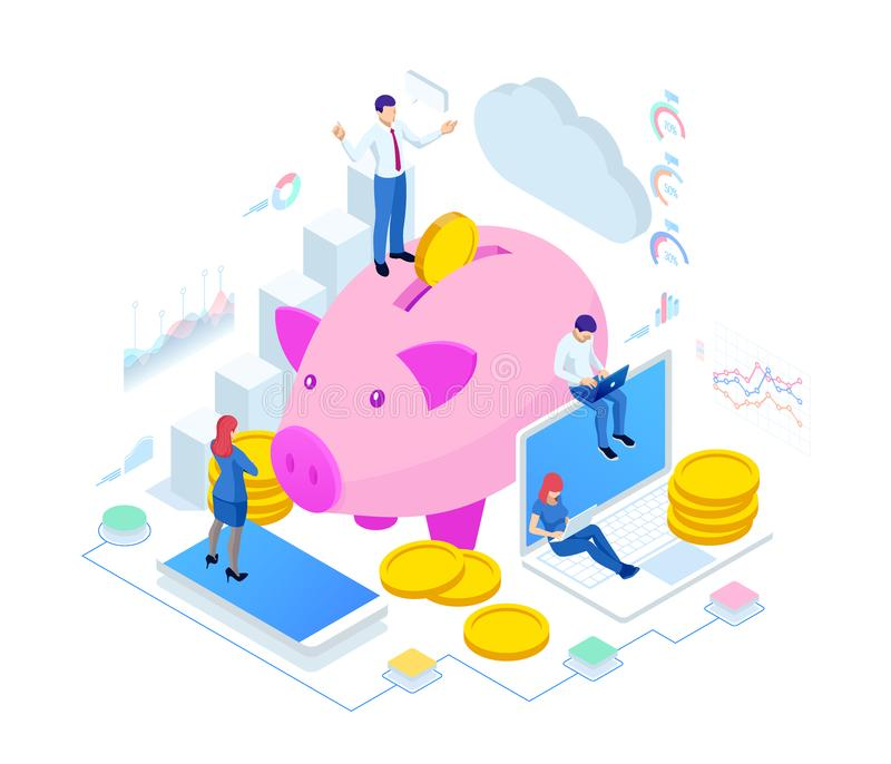 Isometric businessman putting a coin into a piggy bank. Save money concept. Manage money and finance analytics. Isometric businessman putting a coin into a royalty free illustration