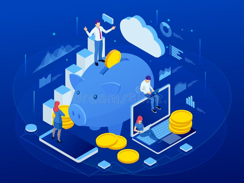 Isometric businessman putting a coin into a piggy bank. Save money concept. Manage money and finance analytics.  royalty free illustration
