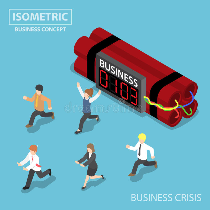 Isometric businessman run away from business timer bomb stock illustration