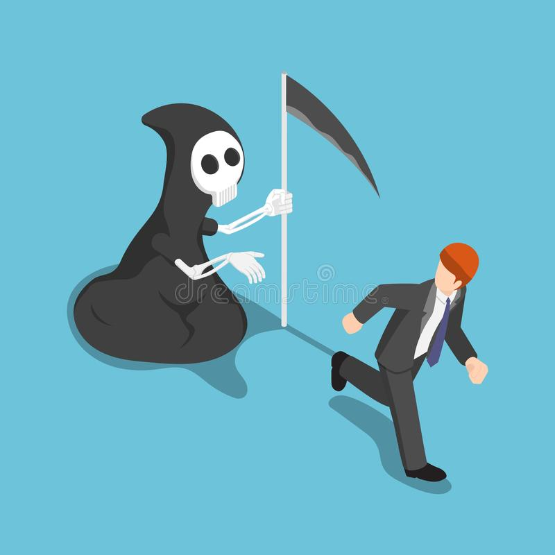 Isometric businessman running away from angel of death. royalty free illustration