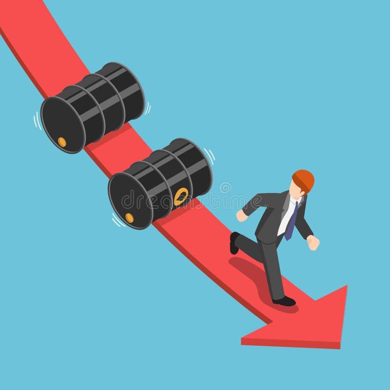 Isometric businessman running away from falling oil barrels on t stock illustration