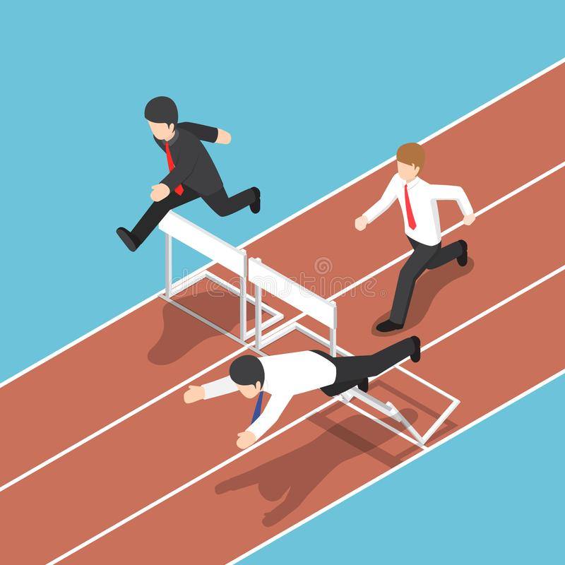 Isometric businessman running with obstacle in hurdle race. royalty free illustration