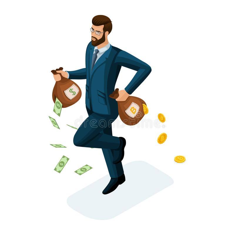 Isometric businessman runs, runs away, loses money, the concept of losing money trying to save investments. Vector illustration of vector illustration