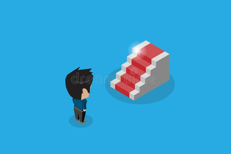Isometric businessman standing in front of staircase with red carpet vector illustration
