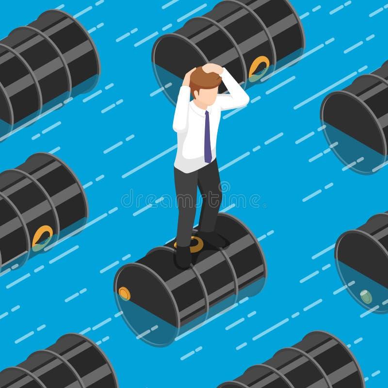 Isometric businessman standing on oil barrel in the water. Flat 3d isometric businessman standing on oil barrel in the water. Oil price crisis and petroleum stock illustration