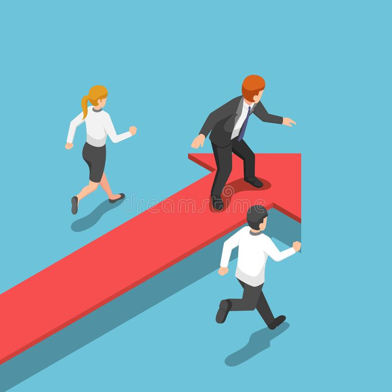 Isometric businessman standing on red arrow at leader position. royalty free illustration