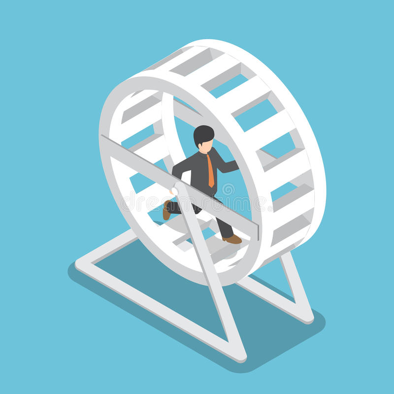Isometric businessman in a suit running in a hamster wheel vector illustration