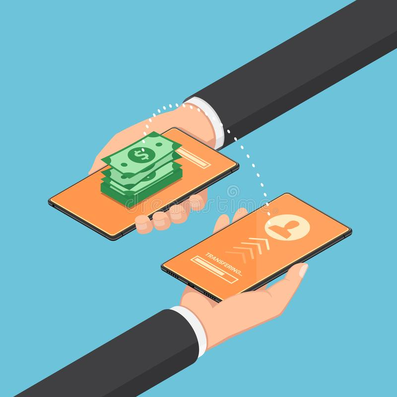 Isometric businessman transfering money through online banking by their smartphone vector illustration