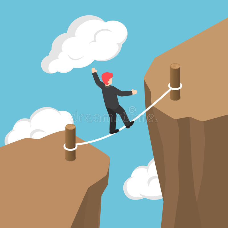 Isometric Businessman Walking and Balancing on Rope Between Cliff Gap. Flat 3d Isometric Businessman Walking and Balancing on Rope Between Cliff Gap, Business stock illustration