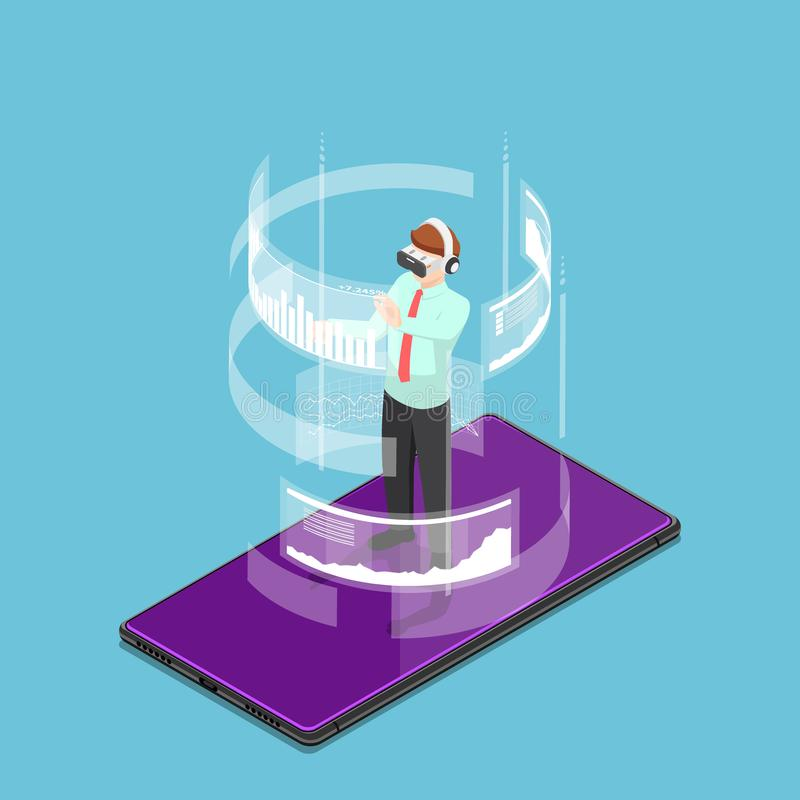 Isometric businessman wearing virtual reality headset and standing on smartphone vector illustration