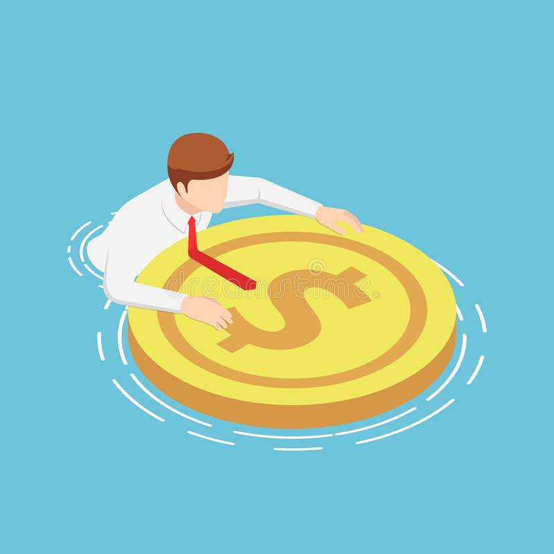 Isometric businessmen are floating on the water with rescue dollar buoy. Flat 3d isometric businessmen are floating on the water with rescue dollar buoy vector illustration